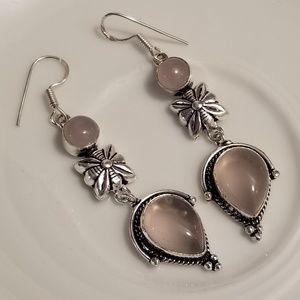 🆕️Sterling Silver - Genuine ROSE QUARTZ Earrings